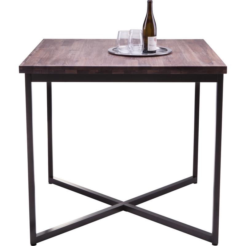 Porto Bar Table In Solid Distressed Walnut W/ Black Steel Base