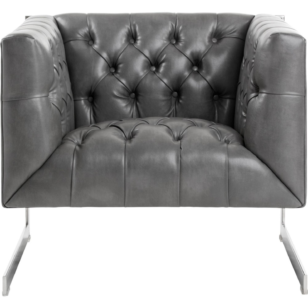 Sunpan Viper Armchair In Tufted Grey Leather W/ Polished Stainless Frame