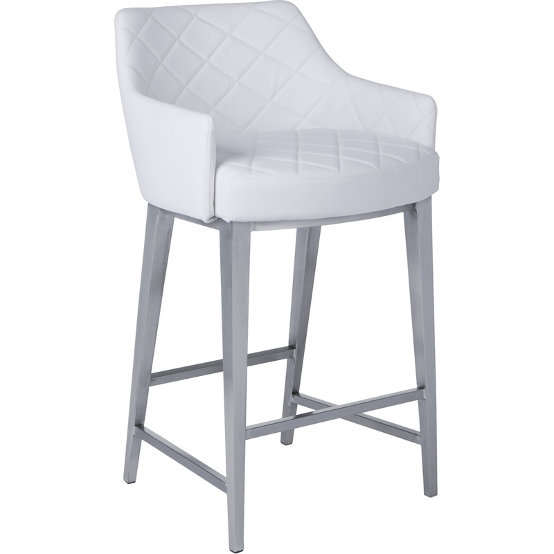 Chase Counter Height Stool In White Leatherette Brushed Stainless Steel By Sunpan