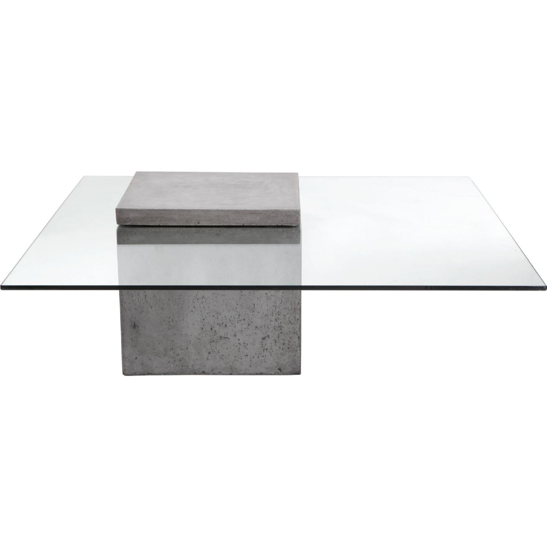 Sunpan Grange Coffee Table In Sealed Concrete U0026 Tempered Glass