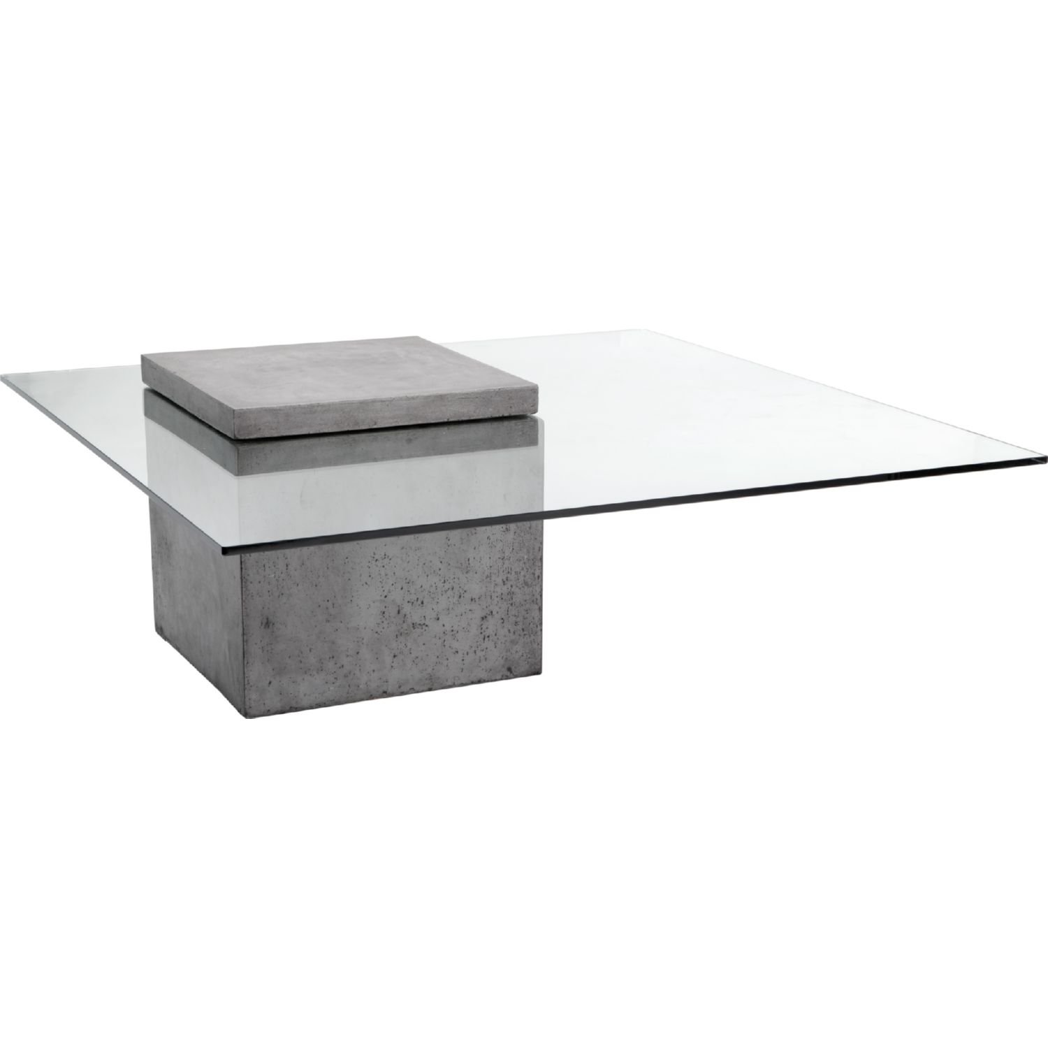 Sunpan Grange Coffee Table in Sealed Concrete & Tempered Glass