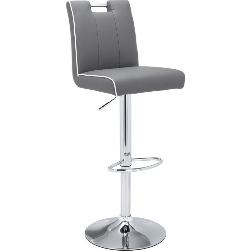 Sunpan 54988 Kalvin Adjustable Bar Stool In Grey W White