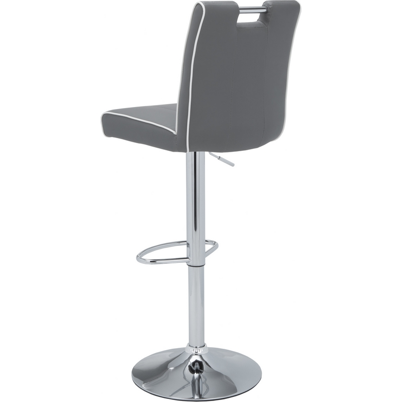 kalvin adjustable bar stool in grey w white trim leather u0026 chrome base