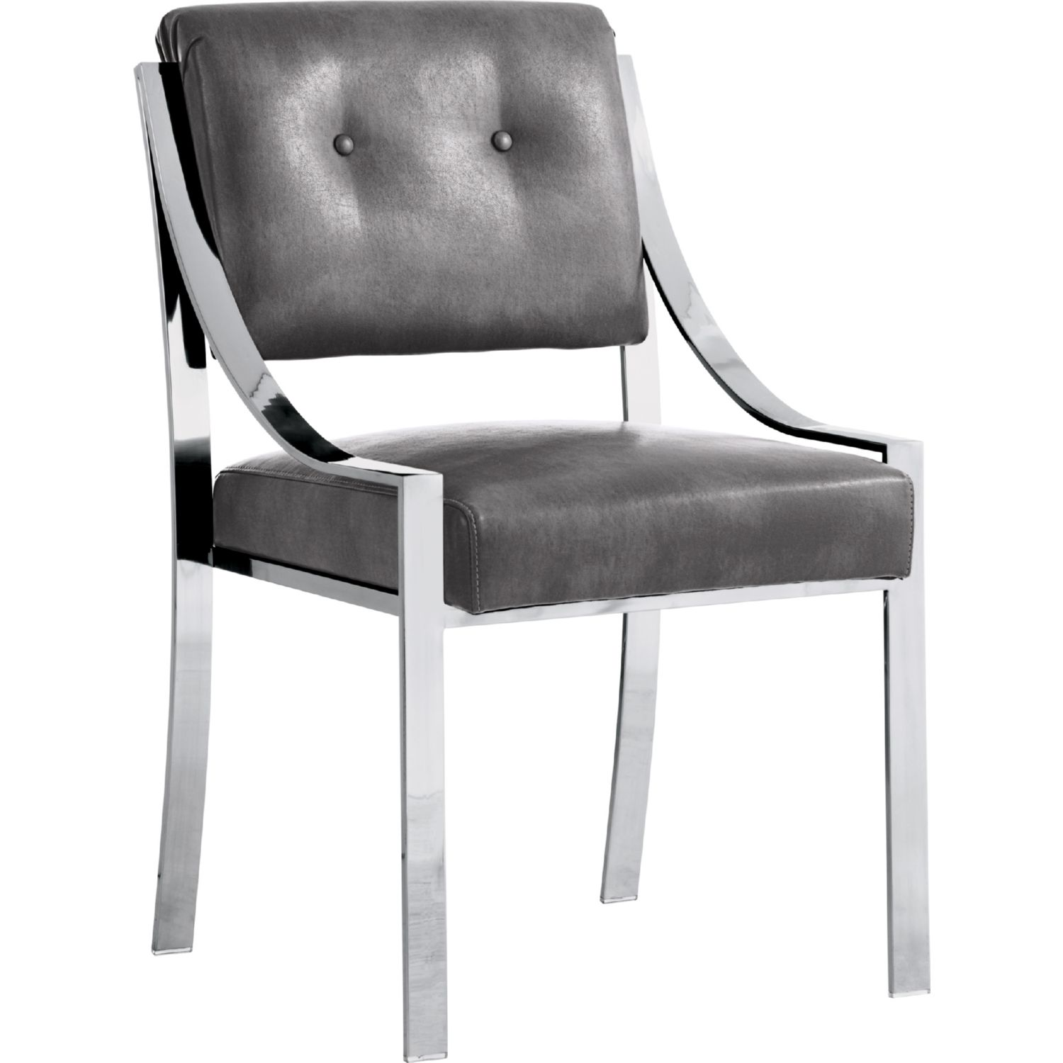 Sunpan Savoy Dining Chair in Grey Leather w Polished