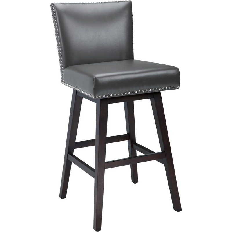 Sunpan 88608 Vintage Swivel Bar Stool In Grey Leather W