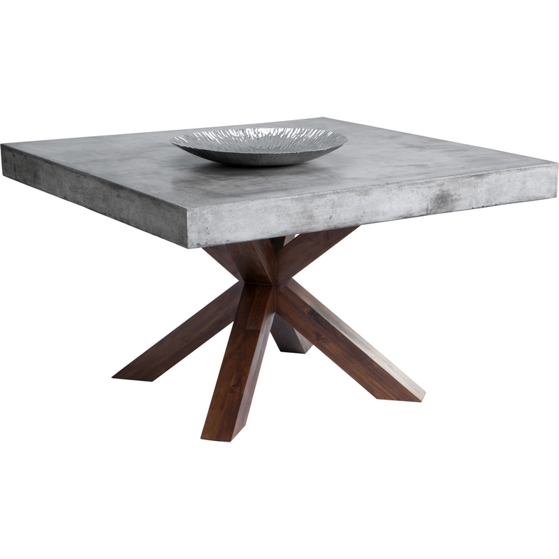 Warwick Dining Table W/ Sealed Concrete Top U0026 Acacia Base   Square