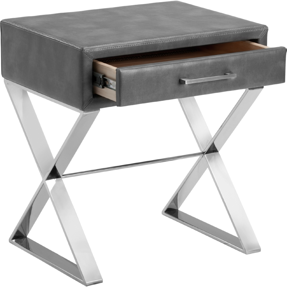 Casa End Table In Grey Leather W/ Drawer On Stainless X Base