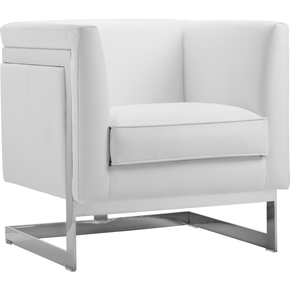Soho Armchair In White Leather W/ Exposed Stainless T Back