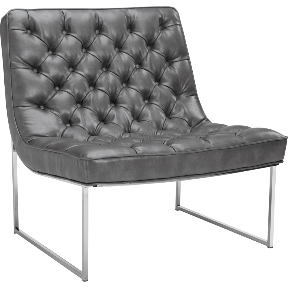 Toro Accent Chair In Tufted Grey Leather On Stainless