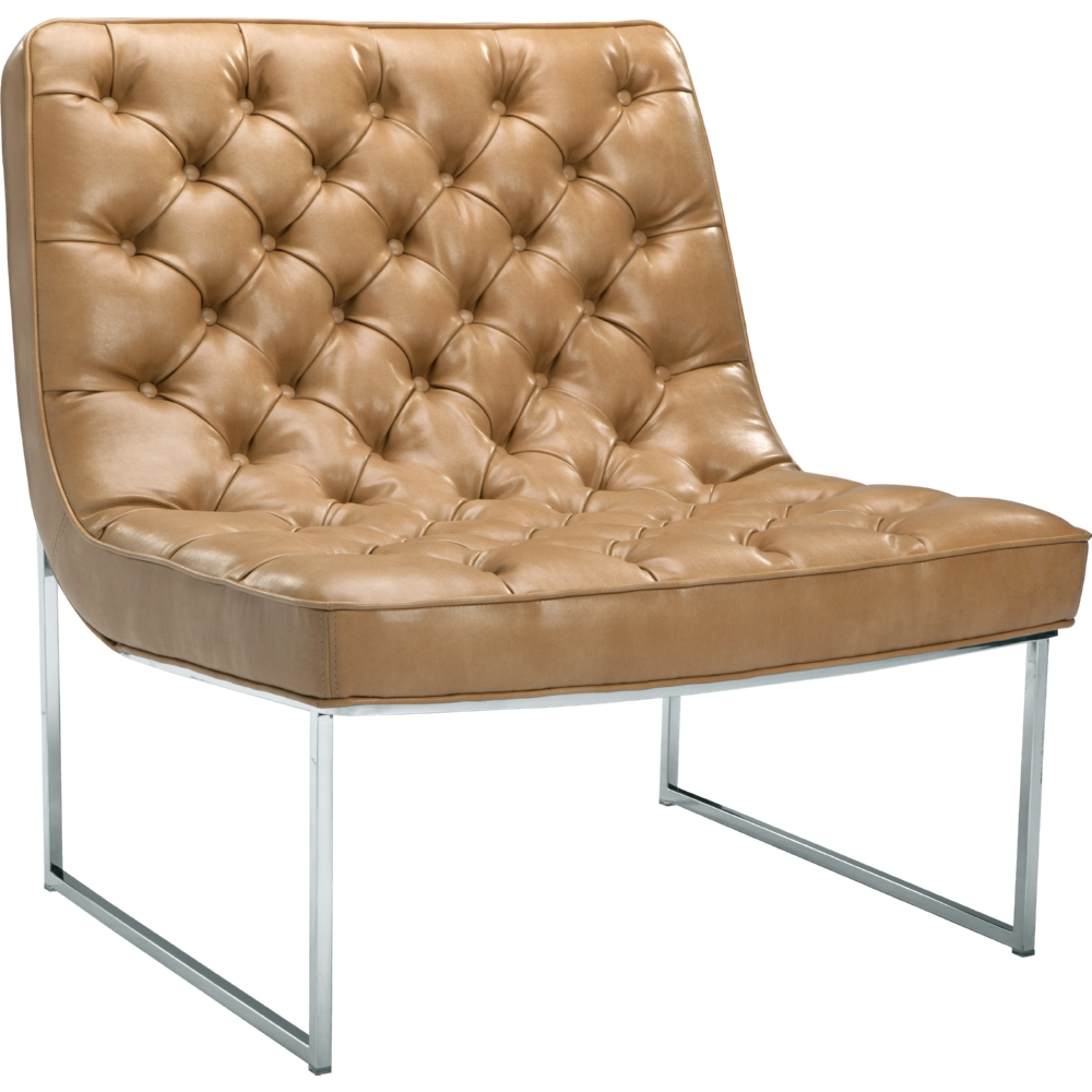 Toro Accent Chair In Tufted Peanut Leather On Stainless