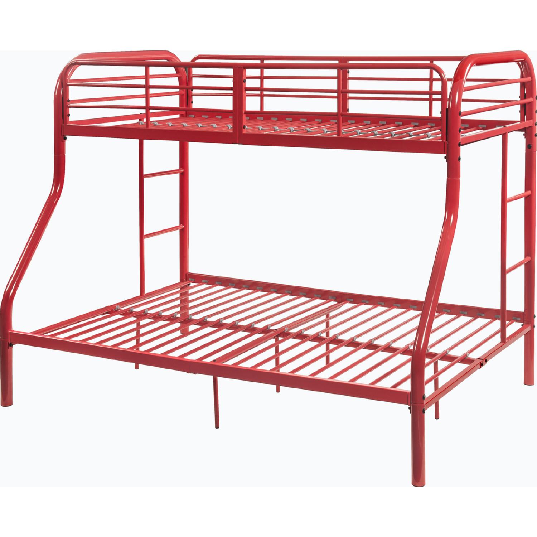 Acme 02043rd Tritan Twin Over Full Bunk Bed In Red Metal