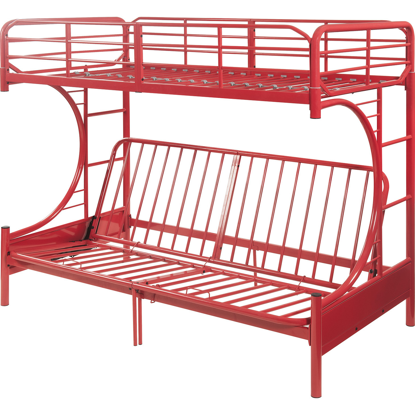 Acme 02081rd Eclipse Twin Full Futon Bunk Bed In Red Metal