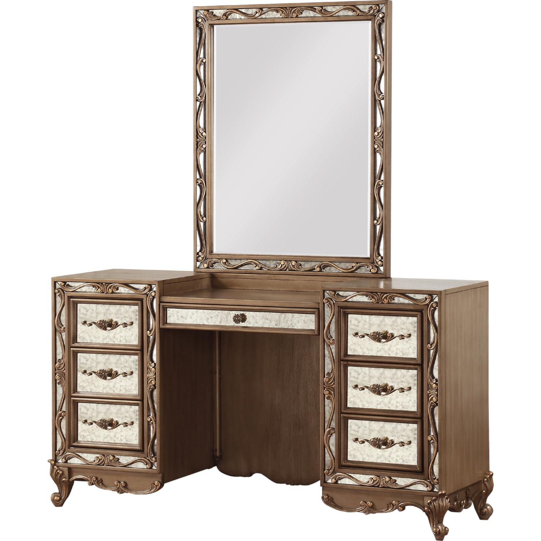 Acme 23797 Orianne Bedroom Vanity Desk In Antique Gold