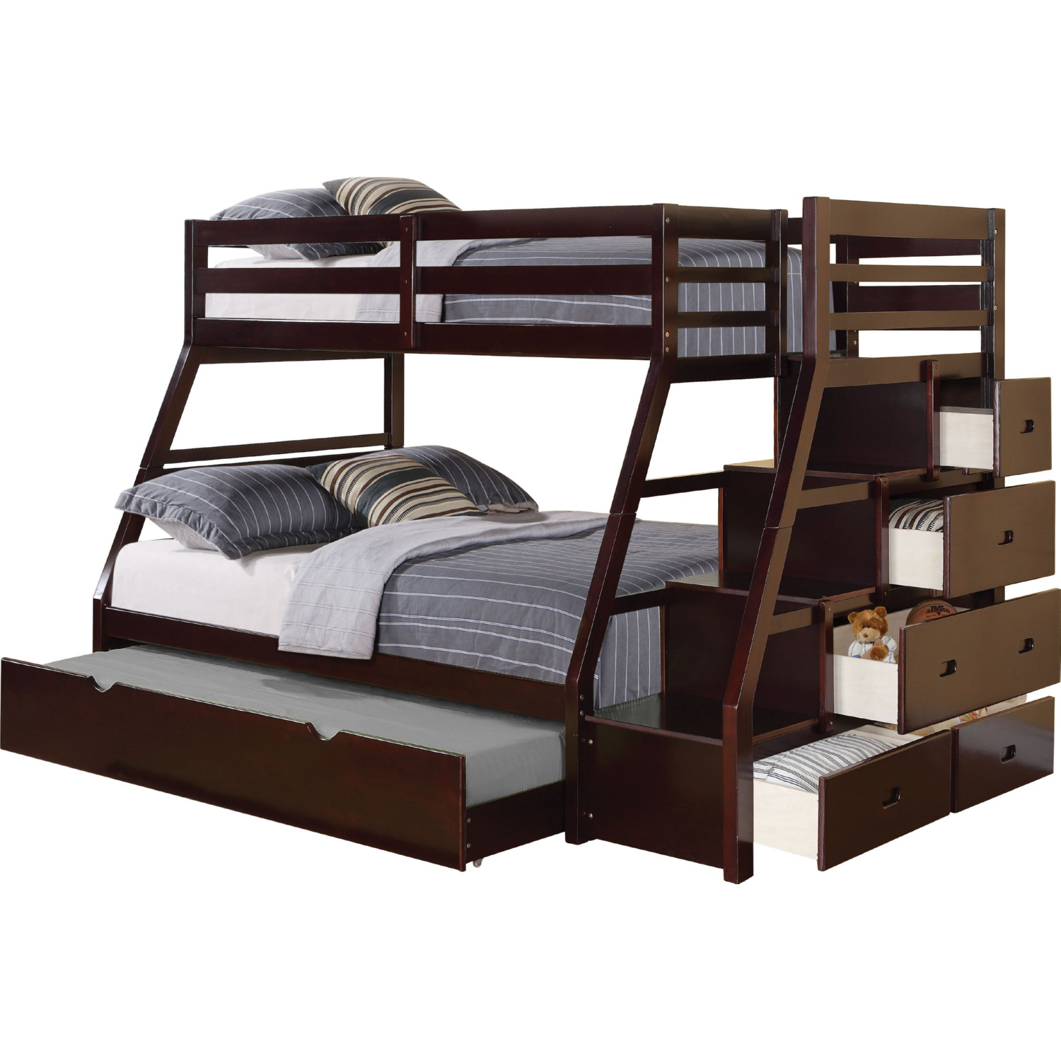 Image of: Acme 37015 Jason Twin Over Full Bunk Bed W Storage Ladder Trundle In Espresso