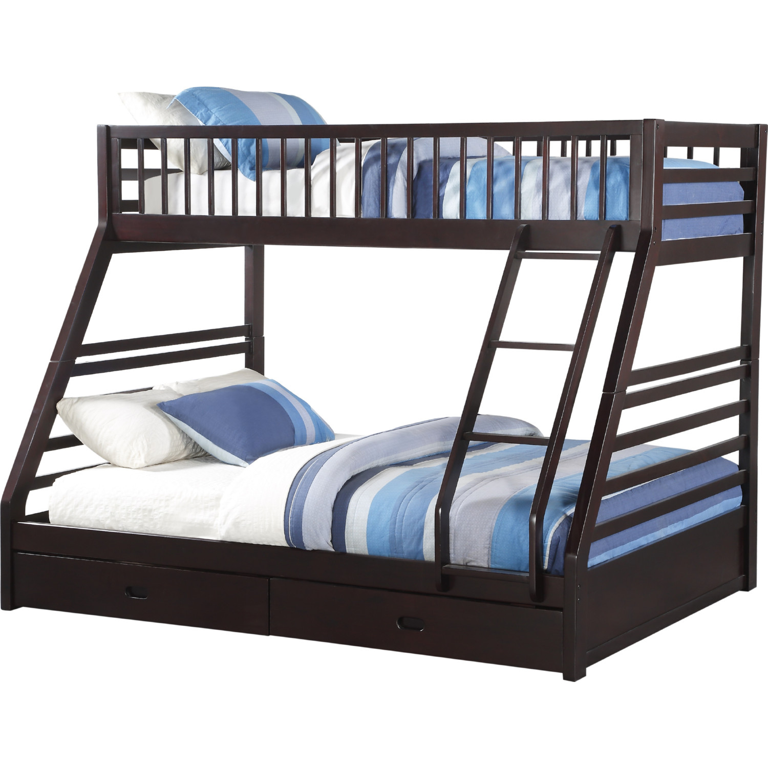 Acme 37425 Jason Xl Twin Over Queen Bunk Bed W Drawer In Espresso