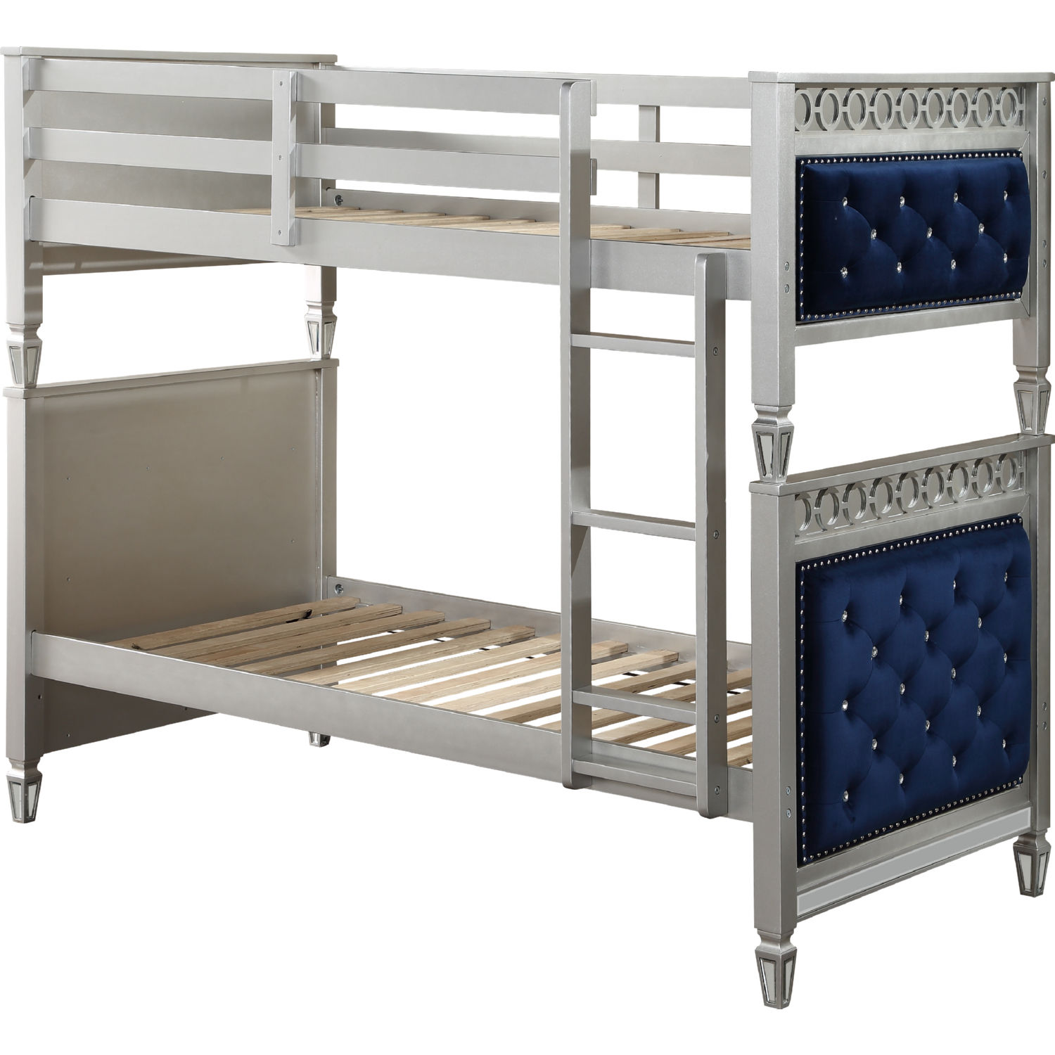 Acme 38330 Varian Twin Over Twin Bunk Bed In Tufted Blue Velvet Silver