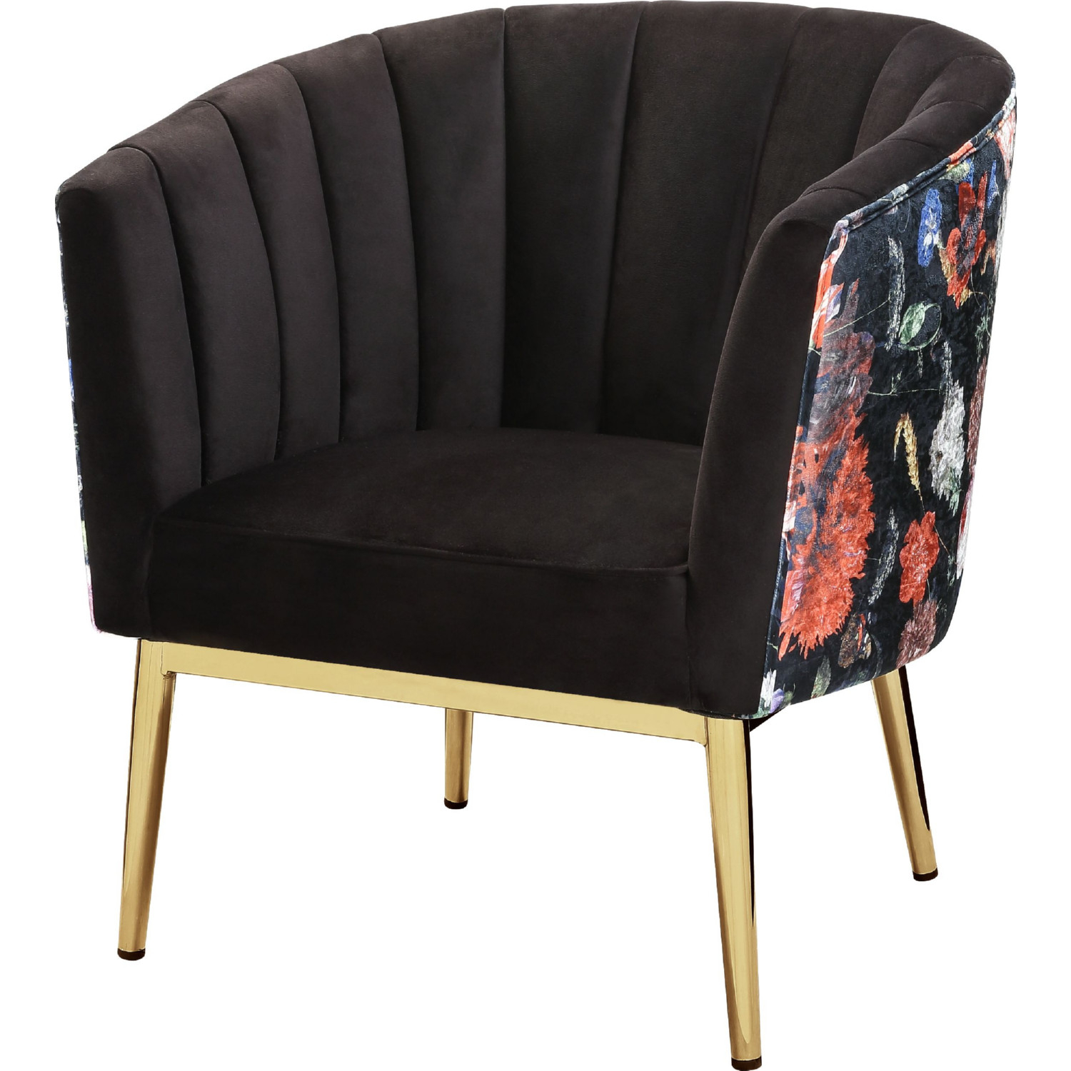 Acme 59816 Colla Accent Chair In Black Floral Velvet Gold