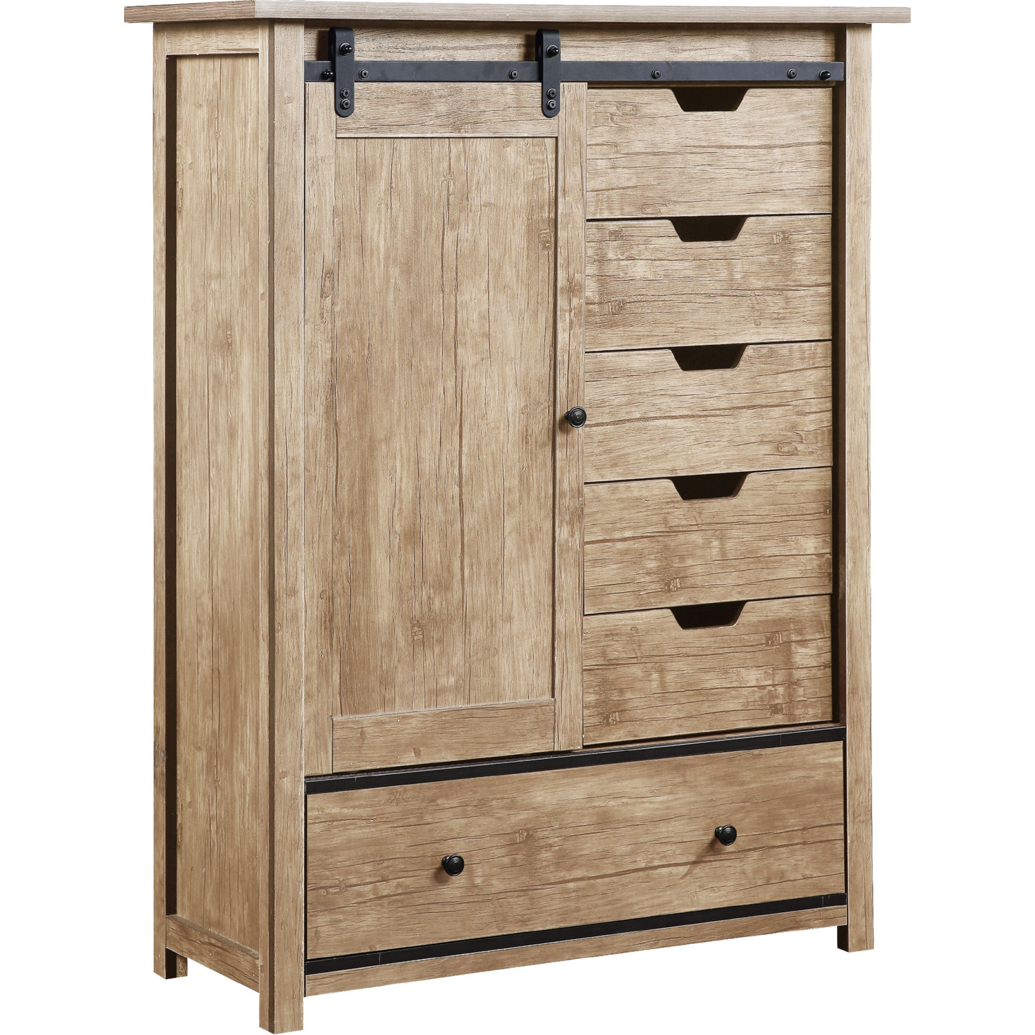 Acme 97466 Cedric Armoire W Sliding Barn Door In Natural Finish Wood