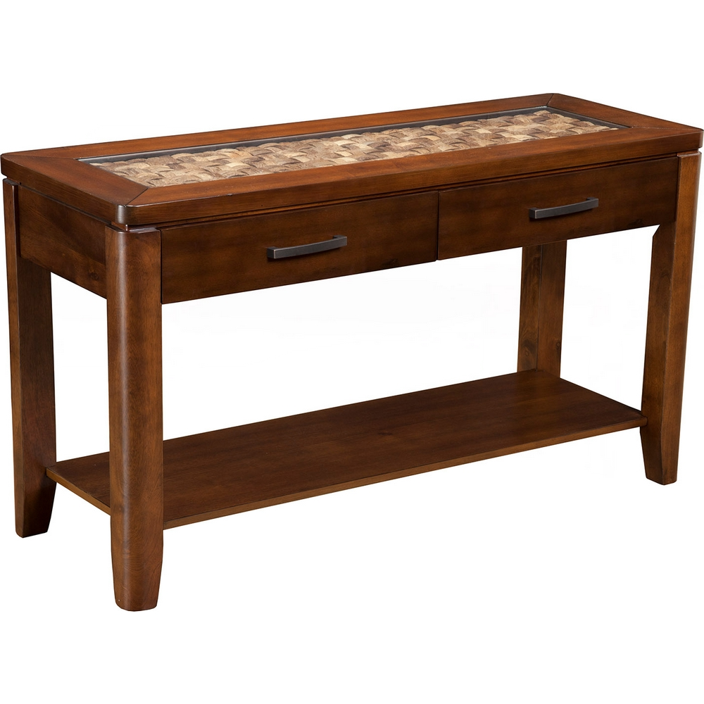 Simpson sofa table with glass top theparty