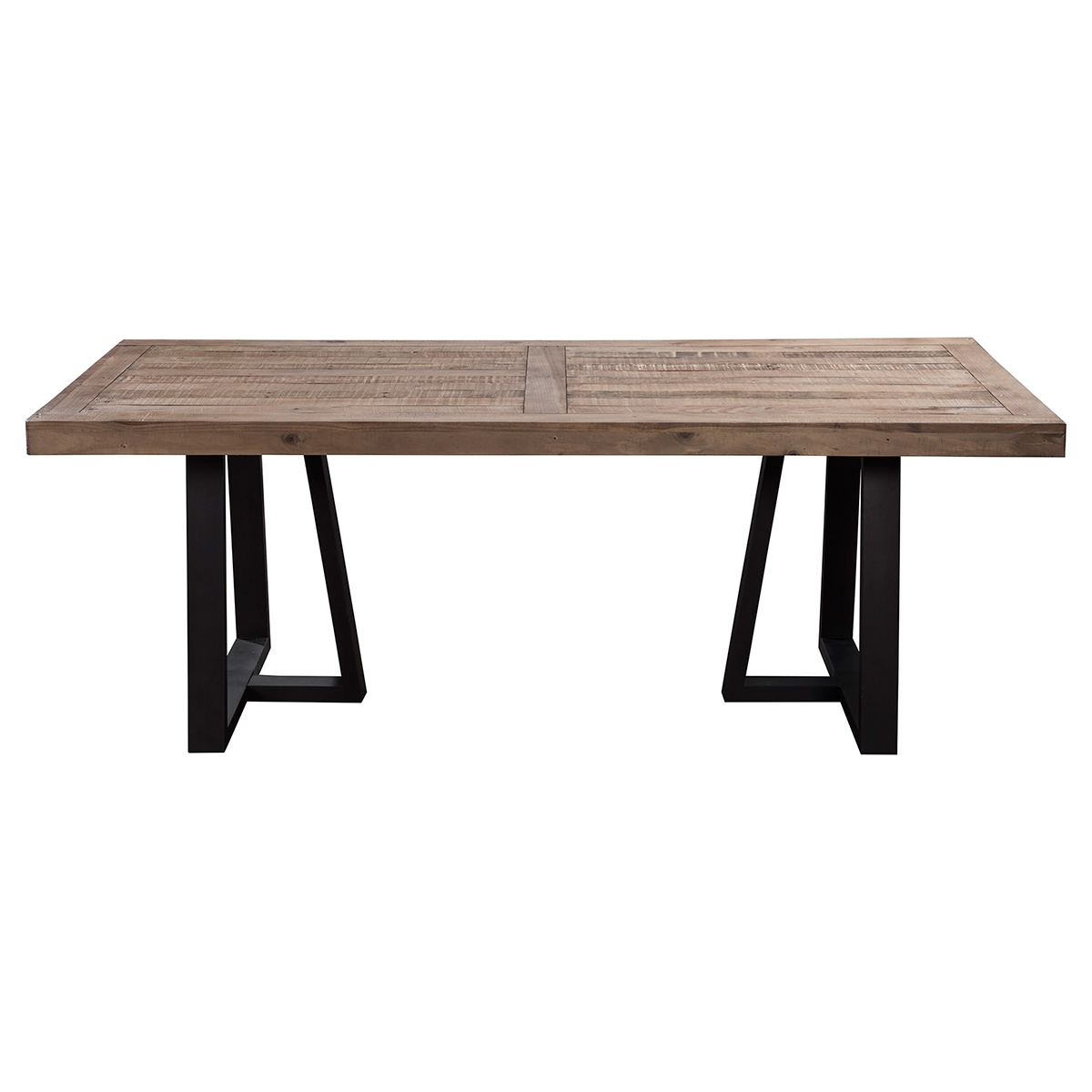 Prairie Rectangular Dining Table W Reclaimed Natural Pine Top On Black Base By Alpine Furniture