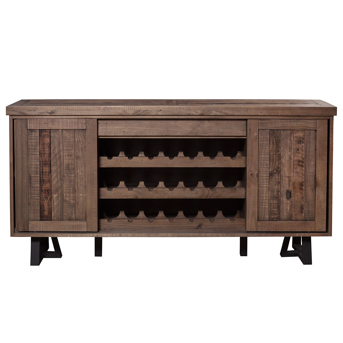 Alpine furniture 1568 06 prairie sideboard w wine holder prairie sideboard w wine holder sliding doors in reclaimed natural on black base vtopaller Gallery