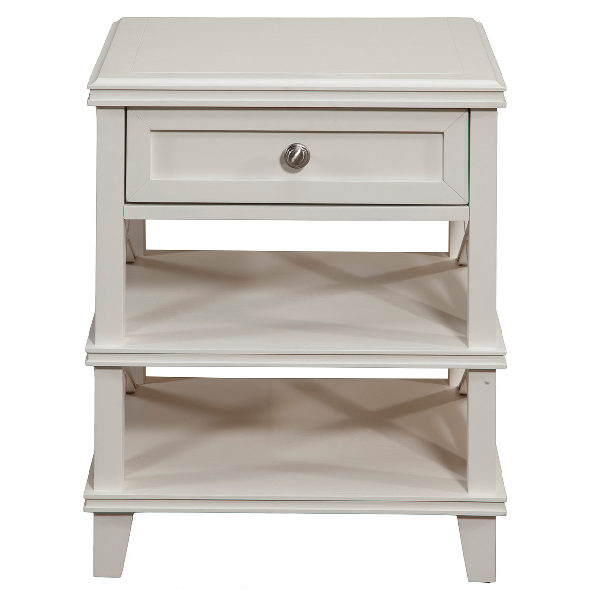 Potter Nightstand W 1 Drawer 2 Open Shelves In White Finish By Alpine Furniture