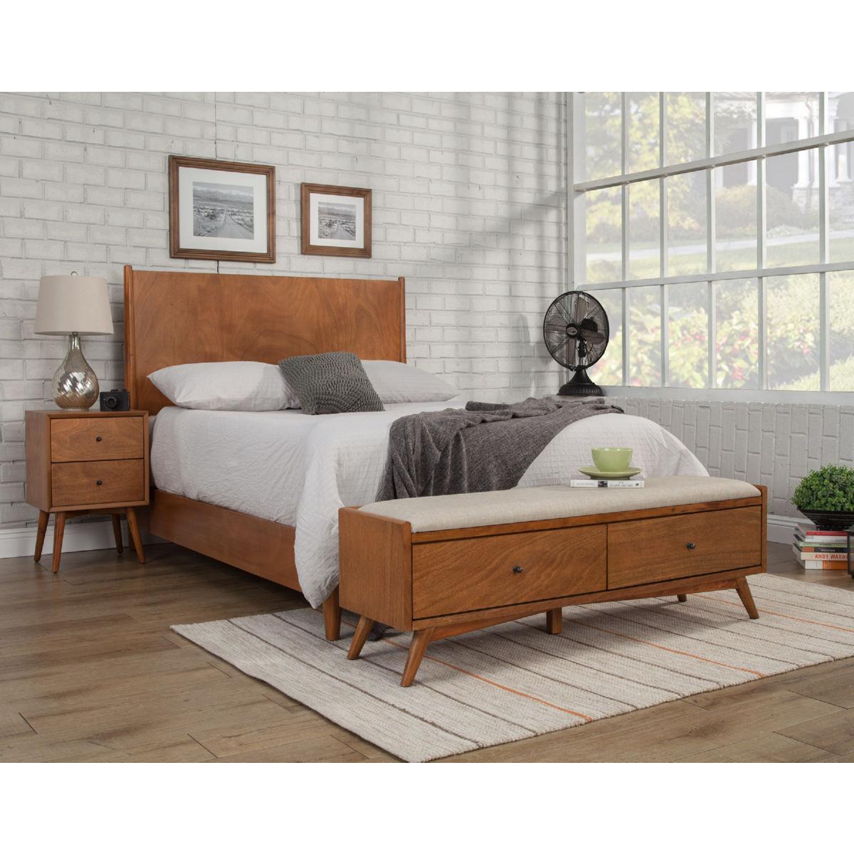 Alpine furniture 966 12 flynn bench in acorn brown finish