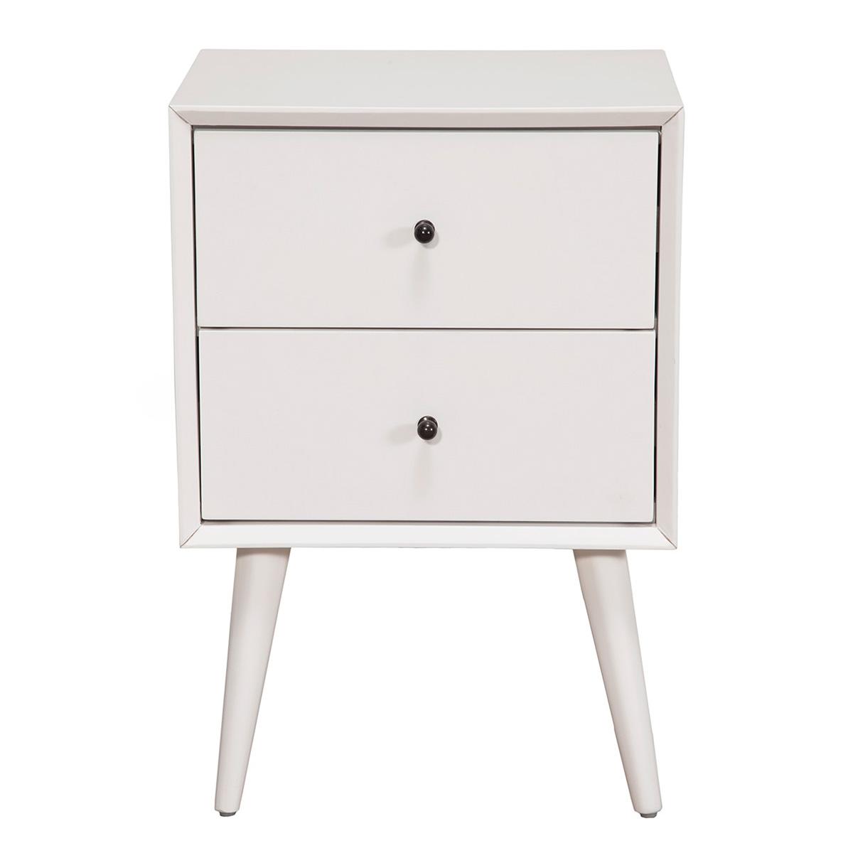Exceptional Alpine Furniture Flynn Mid Century Modern 2 Drawer Nightstand In White  Finish