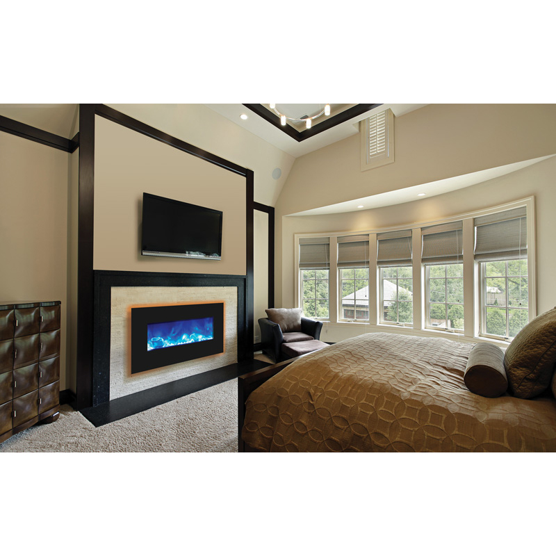 Amantii WM-BI-FI-34-4423-BLKGLS Fire & Ice Series Wall Mount or ...
