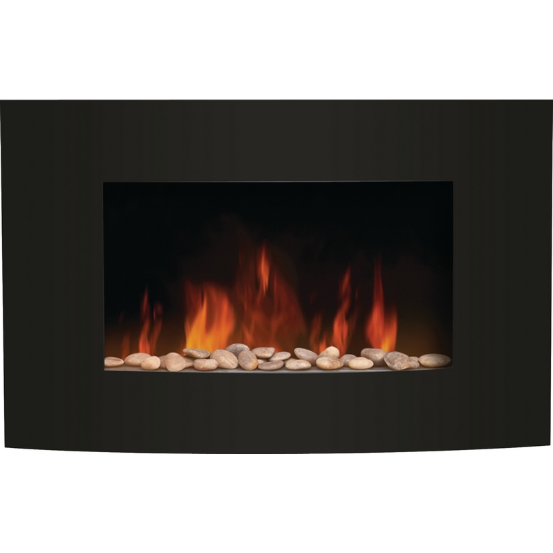 Amantii Wm 3522cf Convex Front Wall Mount Led Fire Effect Electric Fireplace W Wide Black Glass