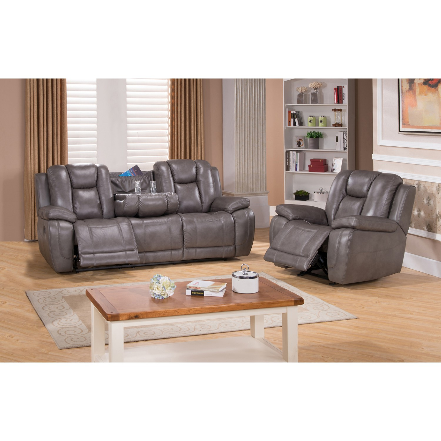 Amax leather austinscc austin 100 leather reclining sofa w drop austin 100 leather reclining sofa w drop down table recliner in smoke grey geotapseo Choice Image