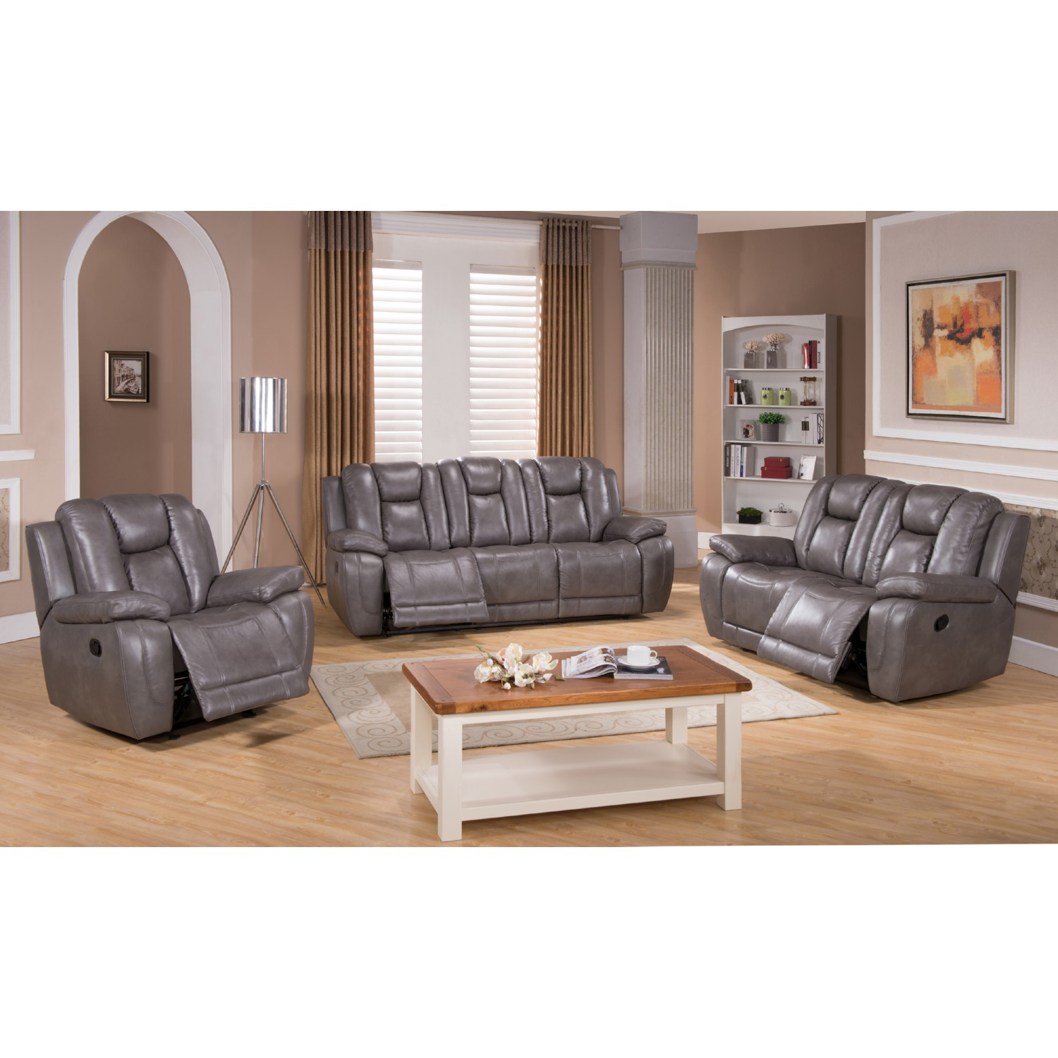 AMAX Leather AustinSLC Austin 100% Leather 3 Piece Set Reclining