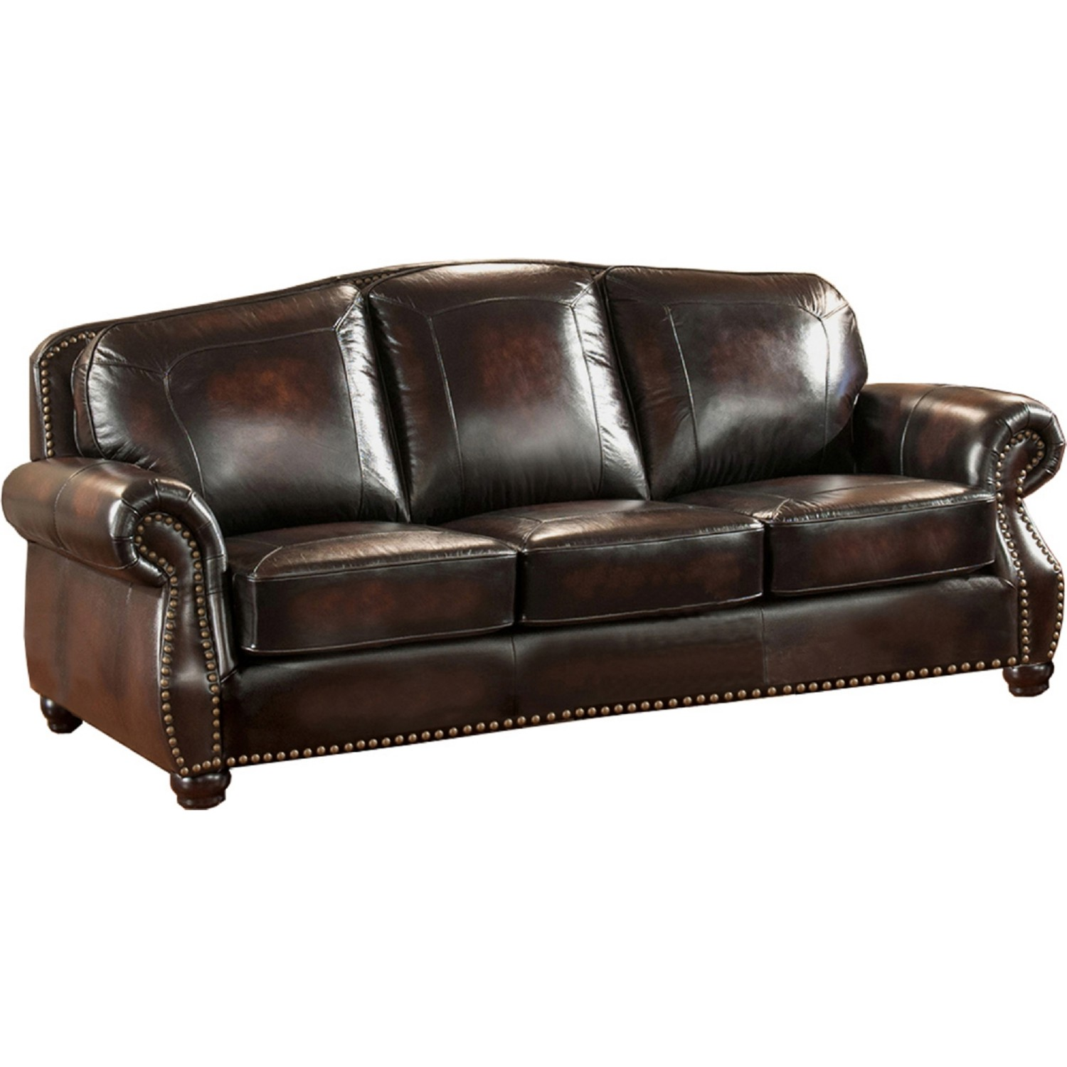 AMAX Leather C9701S2889LS Hyde 100% Leather Sofa in Hand Rubbed