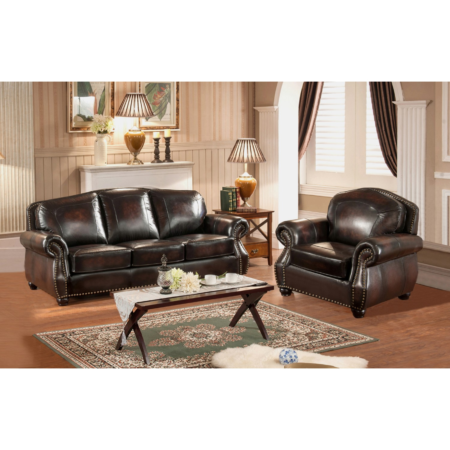 AMAX Leather C9701SC2889LS Hyde 100% Leather Sofa & Armchair in