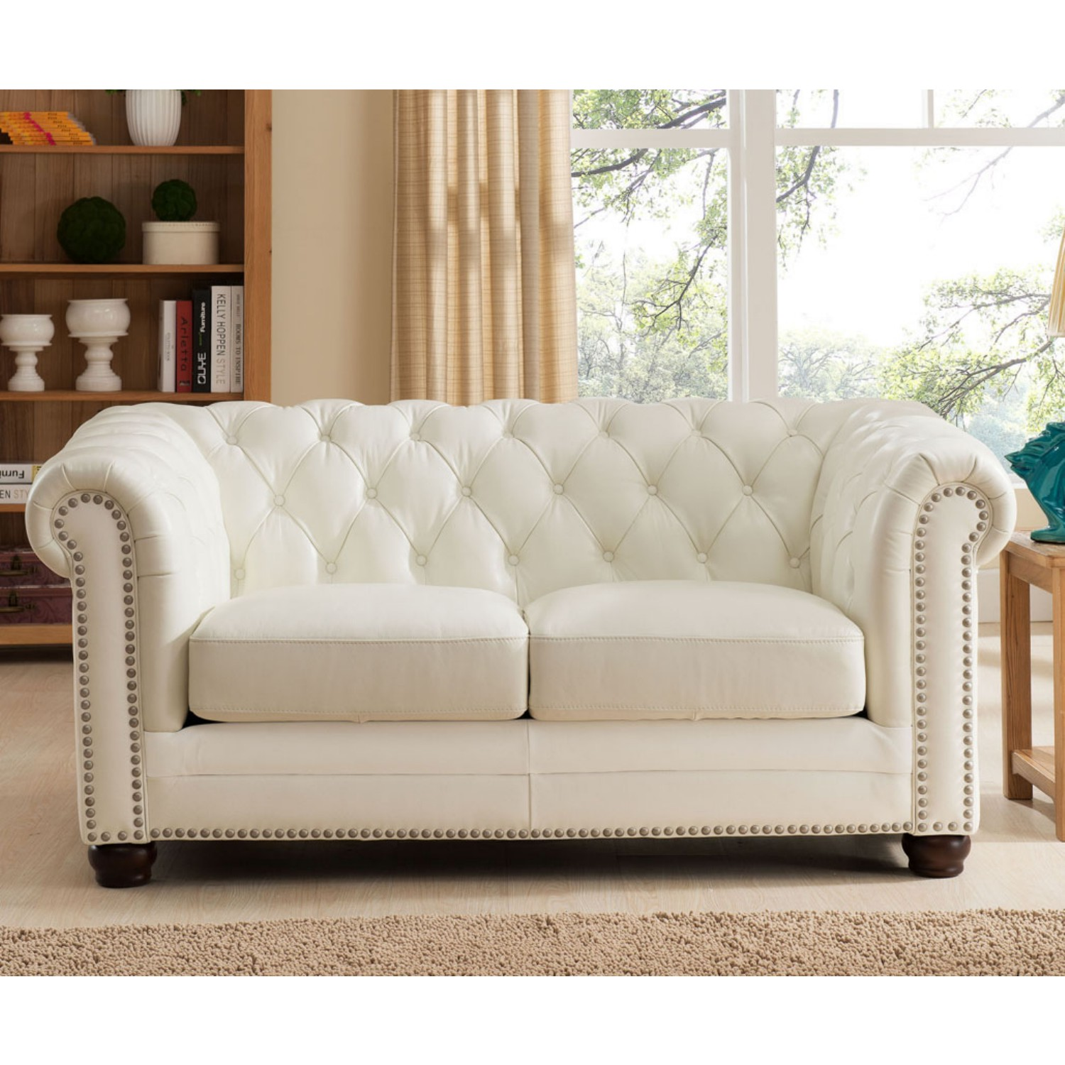 Paris Transitional Tufted White Leather Sectional Sofa: Tufted Nailhead Leather Sofa Kensington Hill Chesterfield