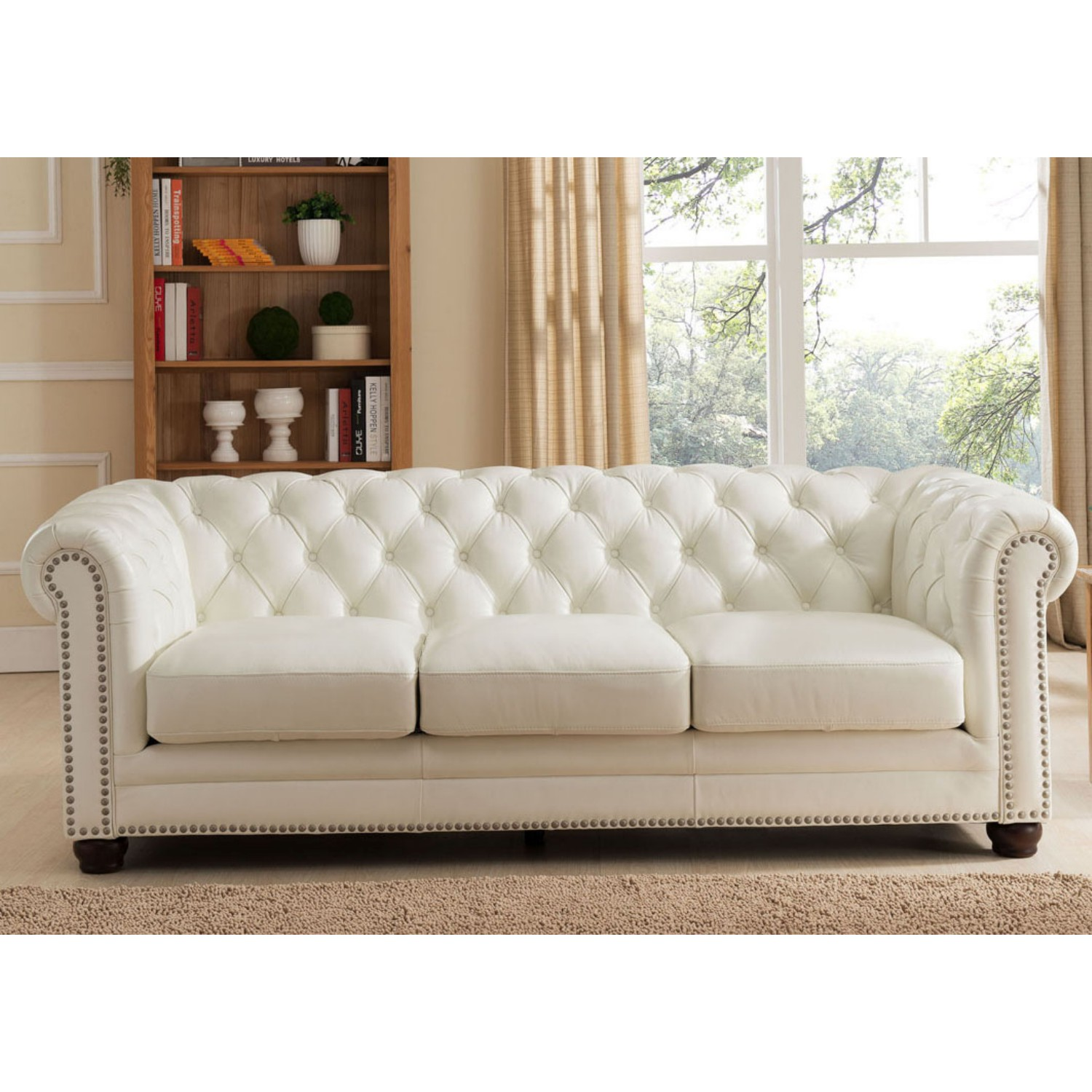 Amax Leather Monacos Monaco 100 Leather Sofa In Diamond Tufted