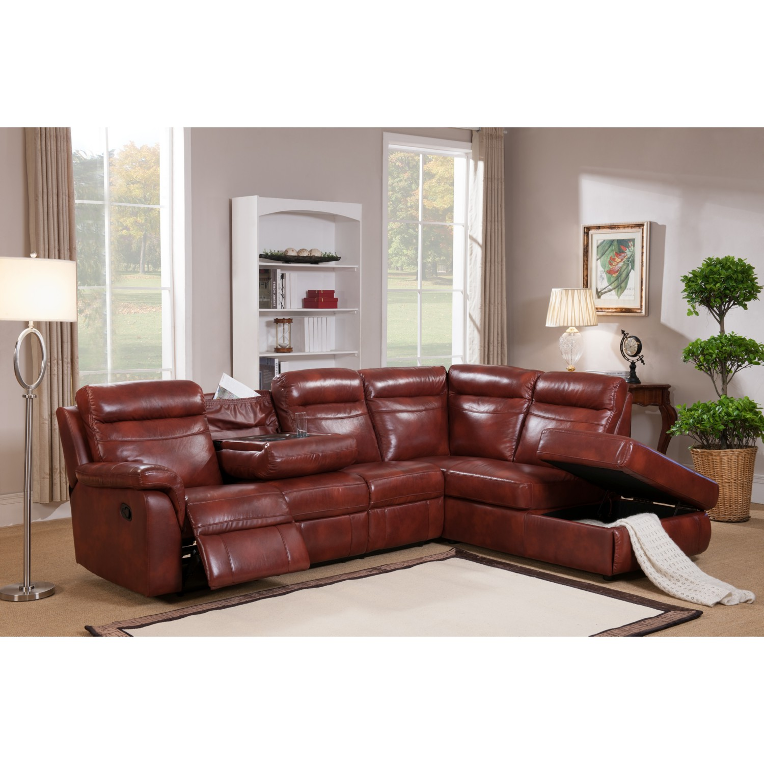 Amax leather haristonsec hariston 100 leather sectional w for Bellagio 100 leather chaise