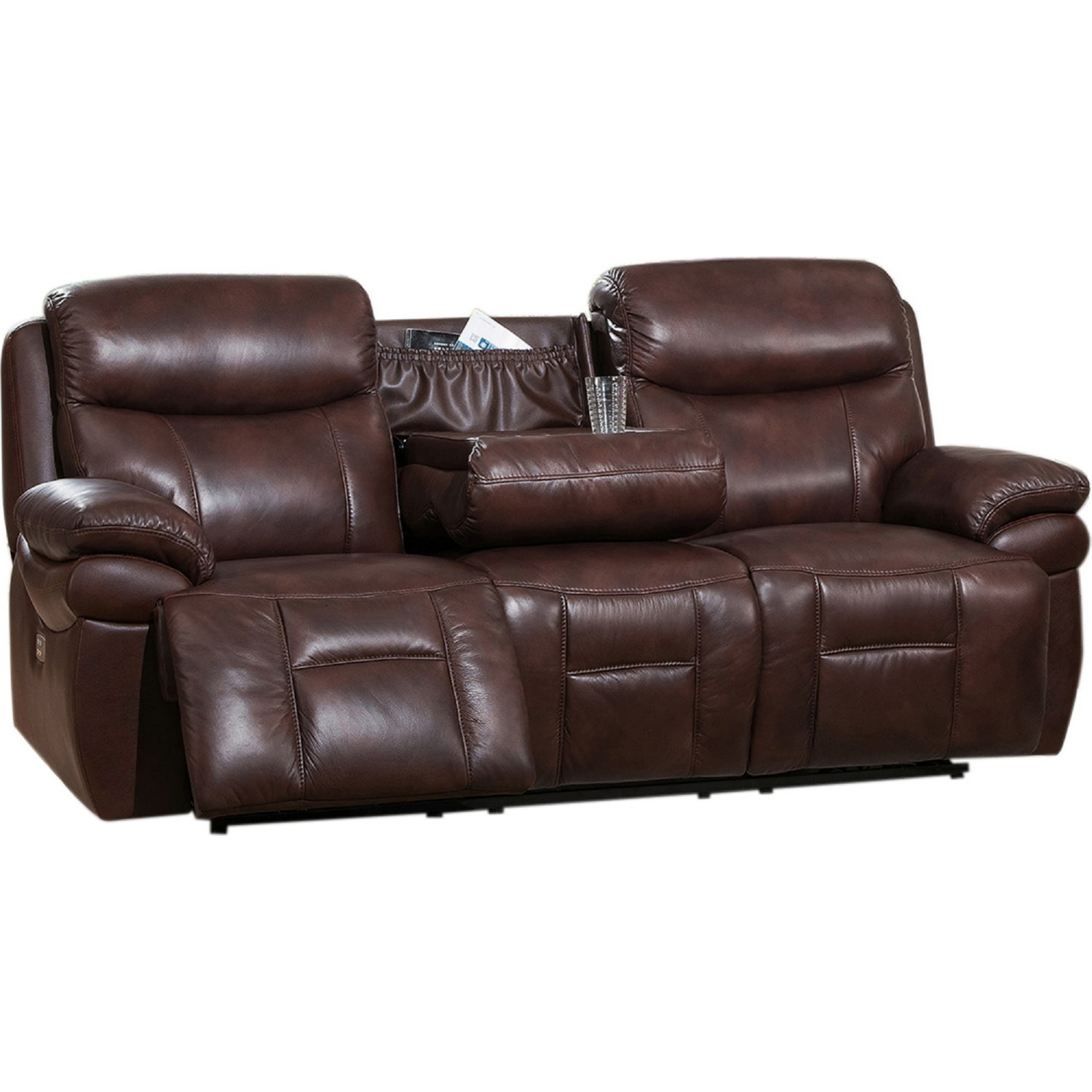 Recliner sofa with console new double recliner sofa with for Sofa console