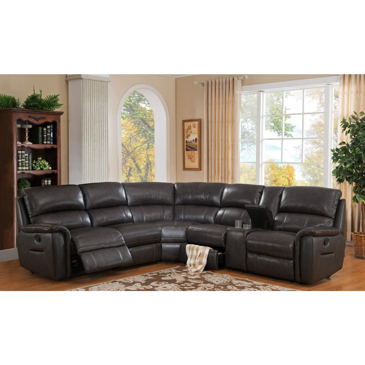 AMAX Leather C9909SECT2370 Camino 100% Leather Reclining Sofa