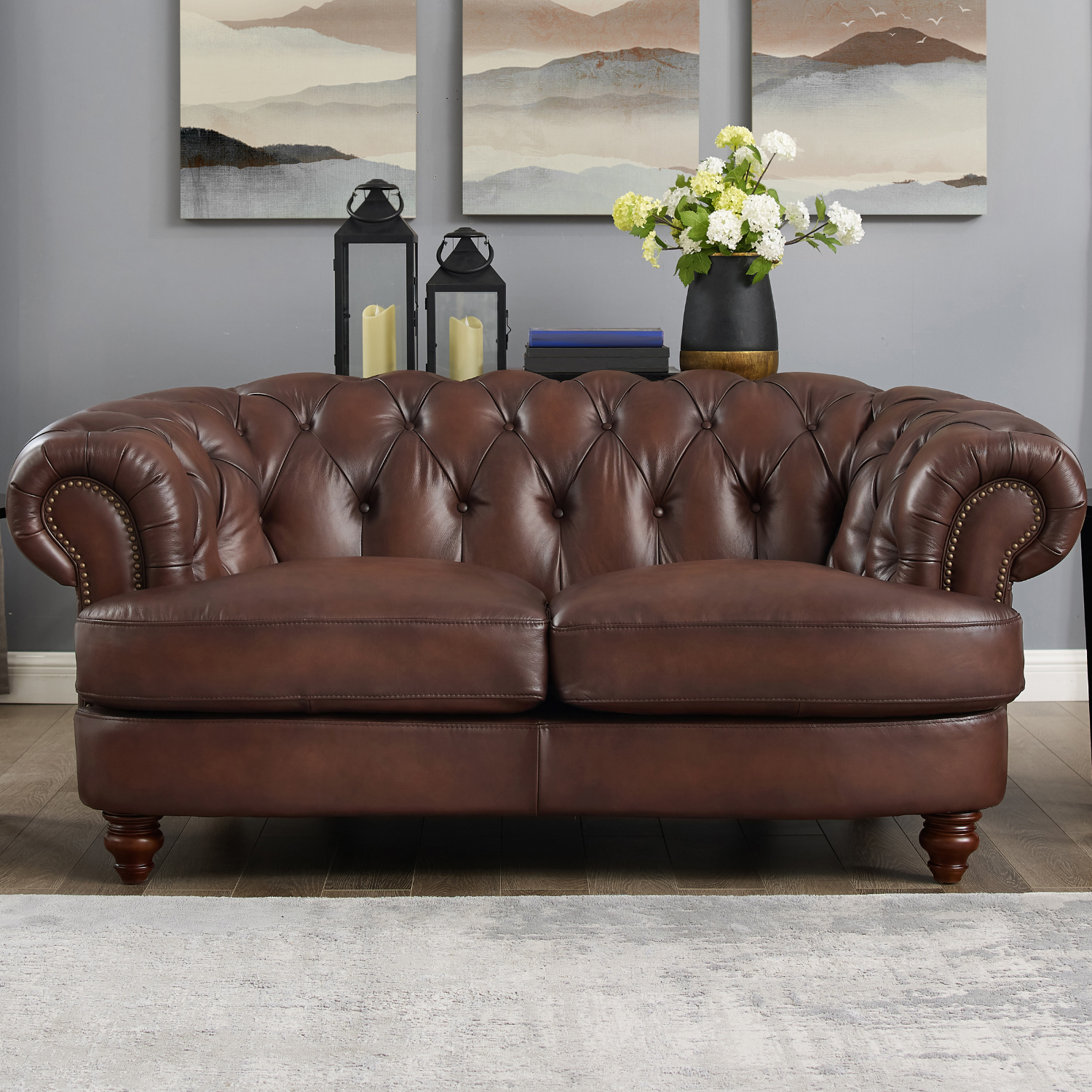 Hydeline Melton Lv Melton Leather Loveseat In Diamond Tufted Dark Brown W Nailheads