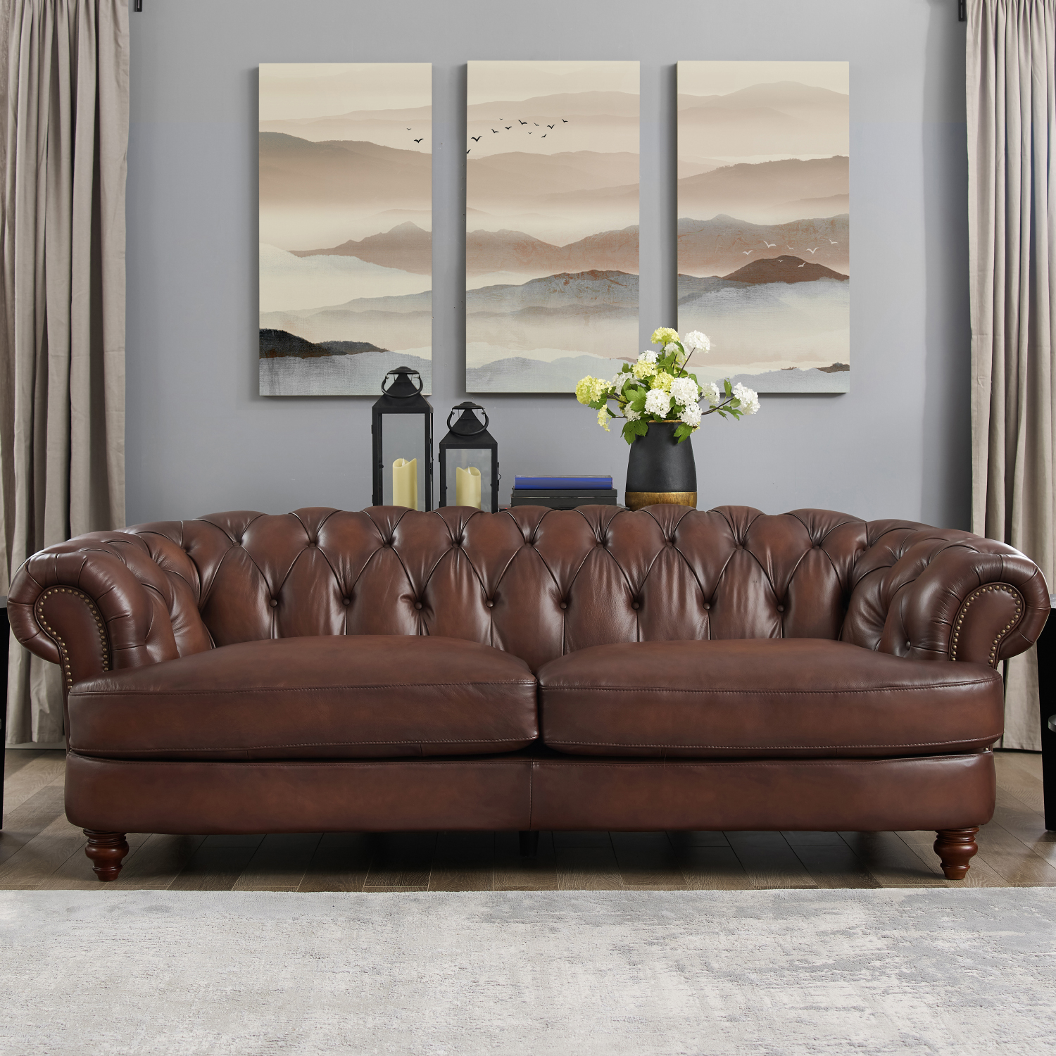 Strange Melton Leather Sofa In Diamond Tufted Dark Brown W Nailheads By Hydeline Leather Ncnpc Chair Design For Home Ncnpcorg