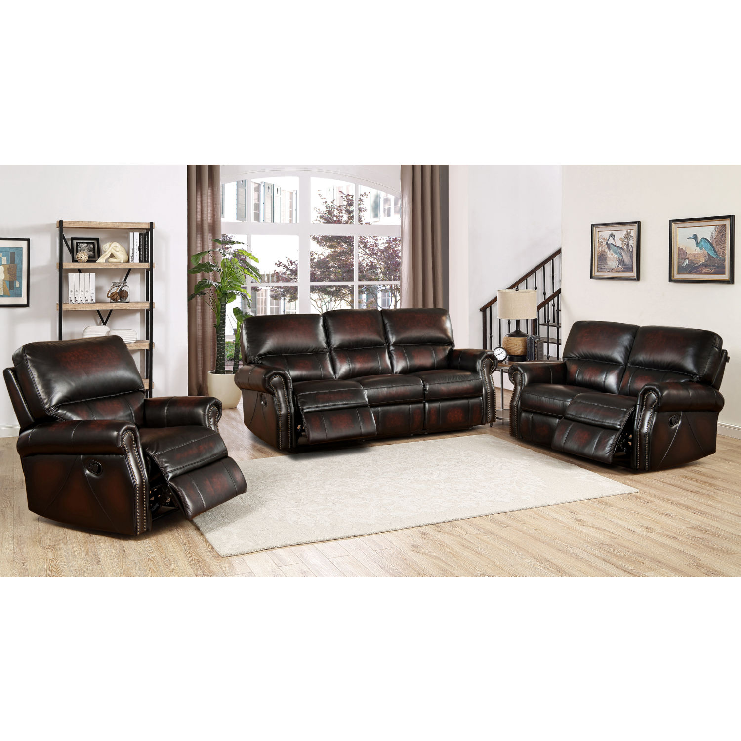 AMAX Leather Brooklyn-SLC Brooklyn Leather 3 Piece Set; Reclining ...