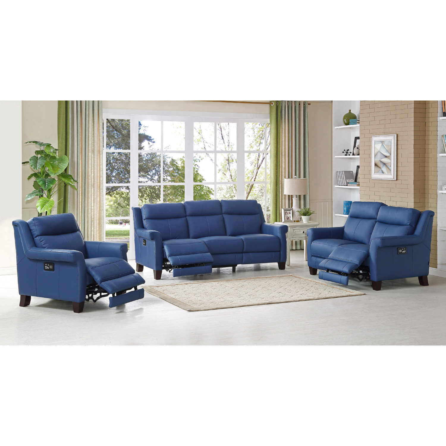 Amax Leather Dolceslc Dolce 100 Leather 3 Piece Set Power  ~ Reclining Sofa And Loveseat