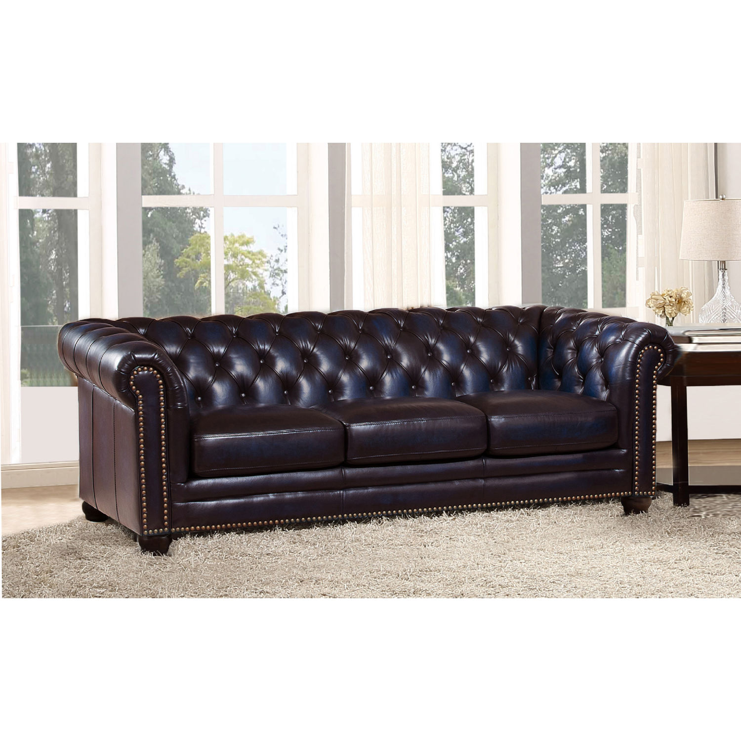 Dynasty Leather Chesterfield Sofa in Tufted Navy Blue w/ Nailhead Trim by  Hydeline Leather