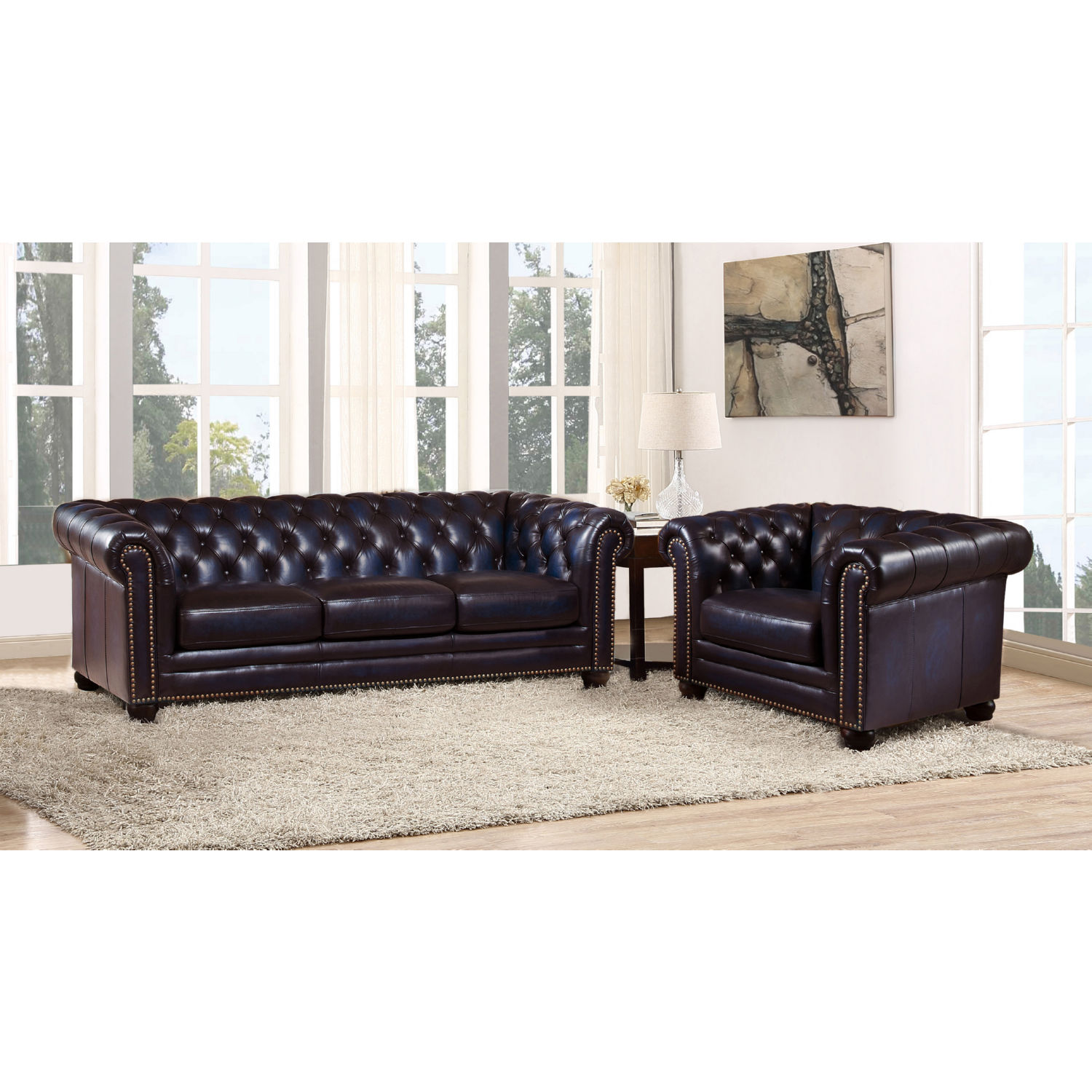 Pleasant Dynasty Leather 2Pc Set Chesterfield Sofa Armchair In Tufted Navy Blue W Nailheads By Hydeline Leather Machost Co Dining Chair Design Ideas Machostcouk
