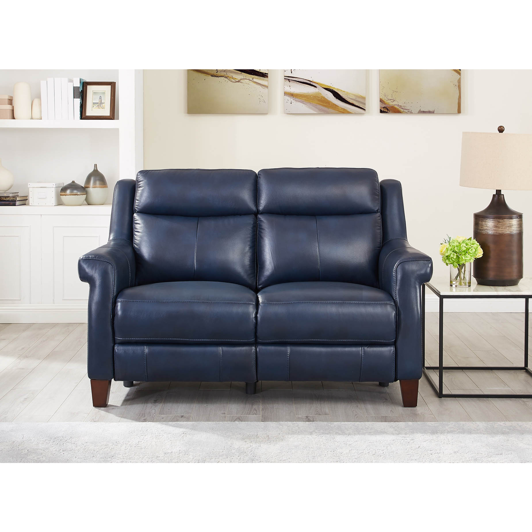 Superb Navona Leather Power Reclining Loveseat W Power Headrest Lumbar In Blue By Hydeline Leather Pdpeps Interior Chair Design Pdpepsorg