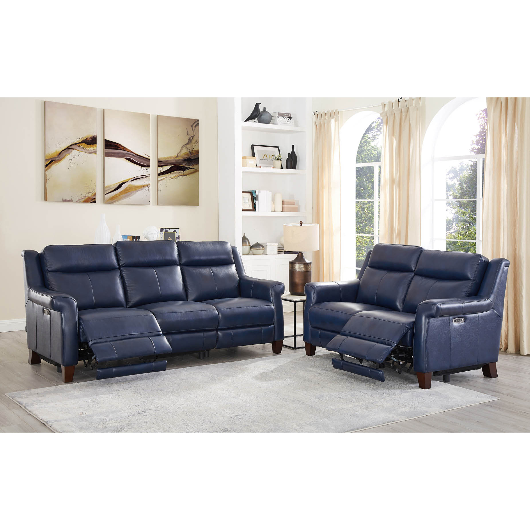 Tremendous Navona Leather 2 Piece Set Power Reclining Sofa Loveseat In Blue By Hydeline Leather Pdpeps Interior Chair Design Pdpepsorg