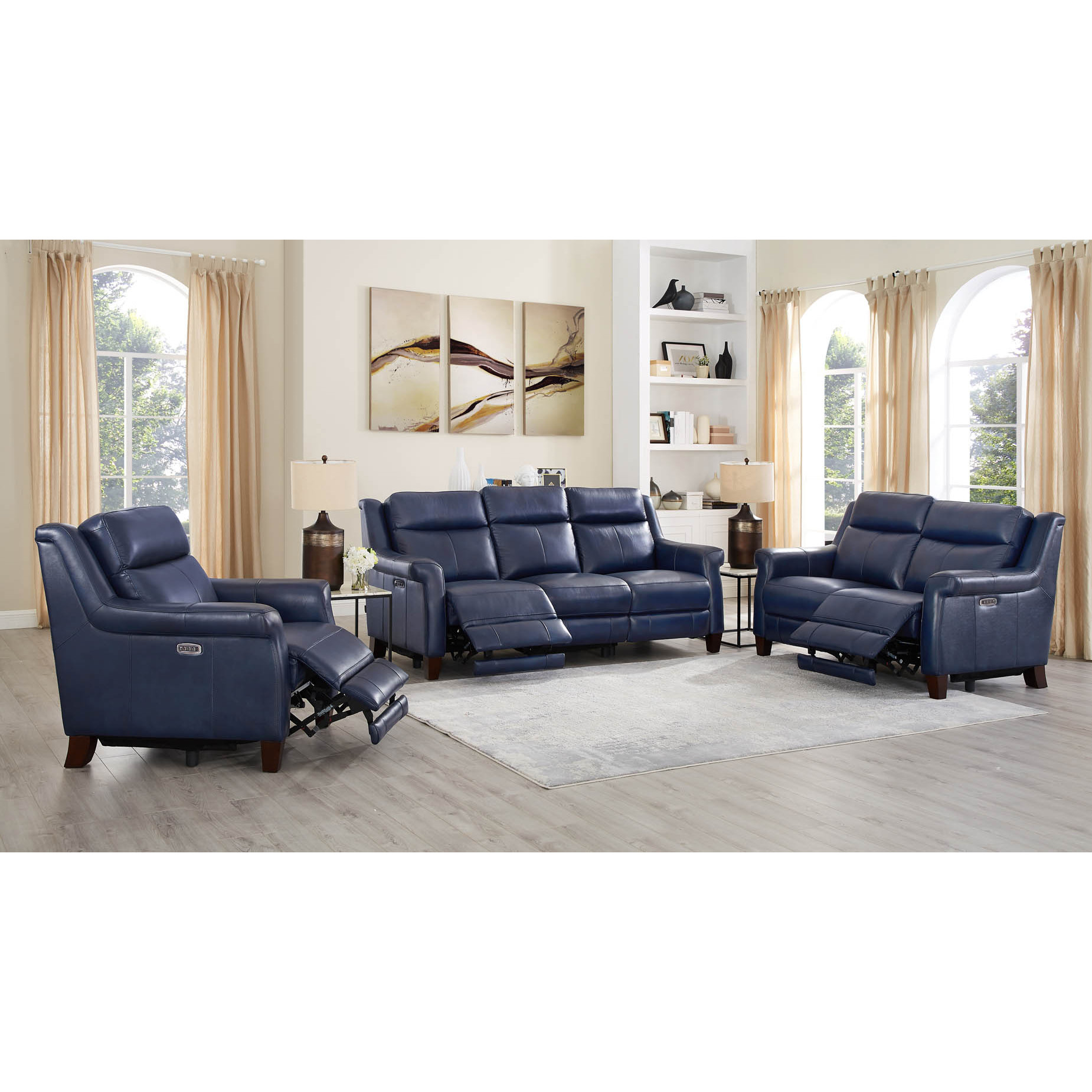 Tremendous Navona Leather 3 Piece Set Power Reclining Sofa Loveseat Armchair In Blue By Hydeline Leather Pdpeps Interior Chair Design Pdpepsorg