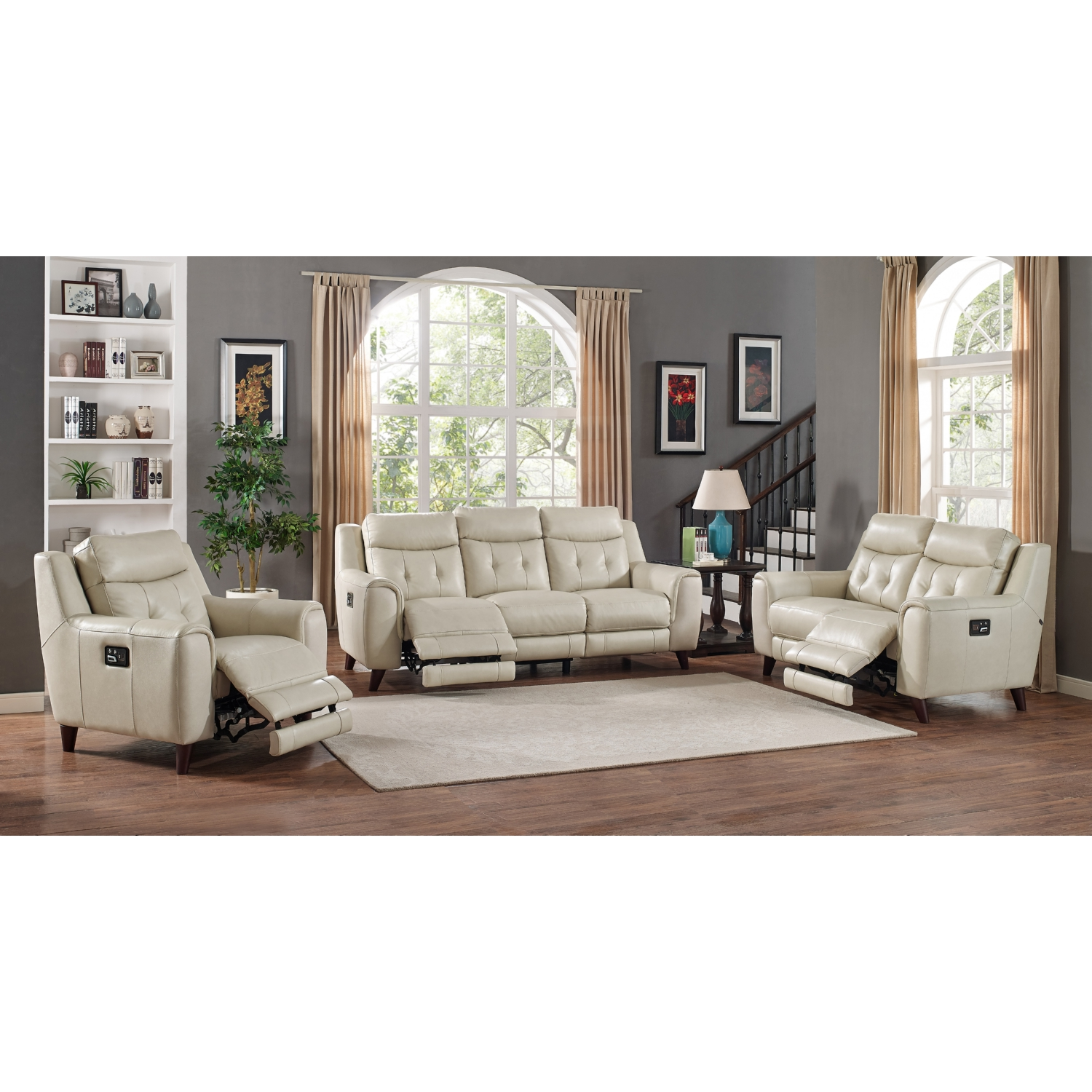AMAX Leather Paramount 3 Piece Leather Set; Power Reclining, Headrest, U0026  Lumbar Sofa, Loveseat, U0026 Chair In Cream