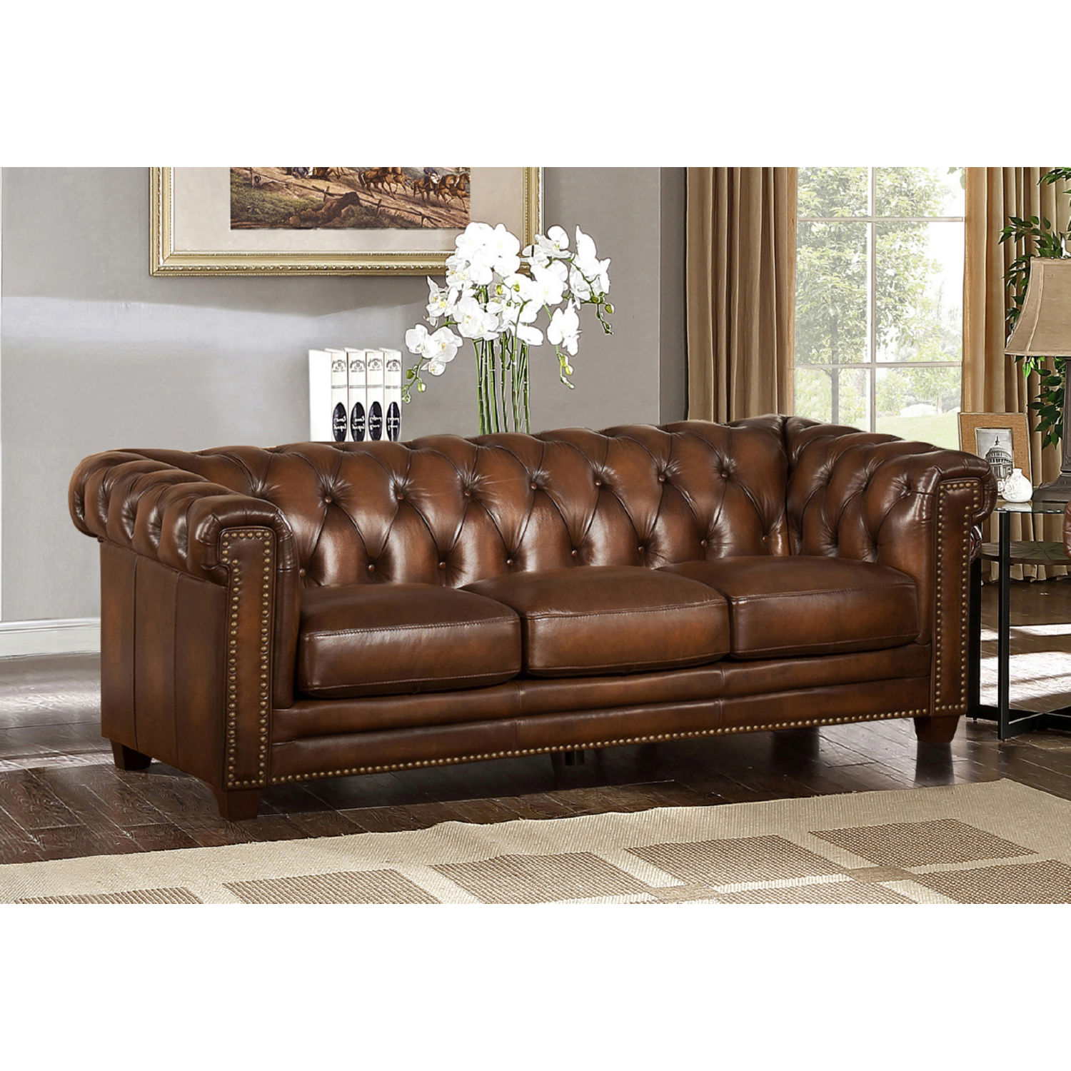 AMAX Leather Stanley Park II 100% Leather Sofa In Tufted Brown W/ Nailheads